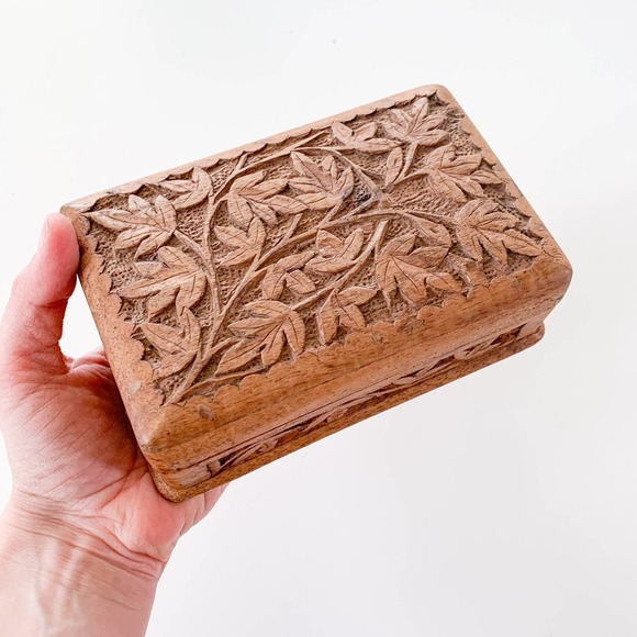 Vintage Boho Wooden Jewelry Box with Lid